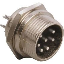 BKL Electronic 0206014 Mini DIN connector Plug, vertical mount Number of pins: 5 Silver 1 pc(s)