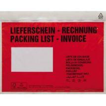 Document enclosed wallet DIN C5 Red Lieferschein-Rechnung, mehrsprachig Self-adhesive 250 pcs/pack 250 pc(s)