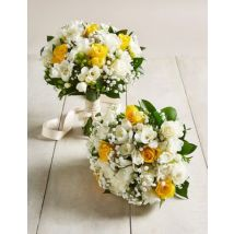 M&S Yellow & White Rose & Freesia - Additional Bridesmaids Bouquets x 2