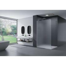 Paroi de douche fixe latérale en verre, satiné, EX101, largeur sélectionnable
