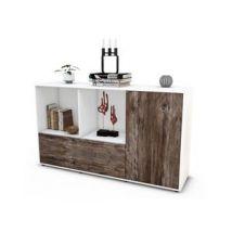 Sideboard Ela | Korpus Weiß | Front in Treibholz Holz Optik | 136x79x35cm (BxHxT)