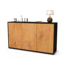 Sideboard Delia | Korpus Anthrazit | Front in Eiche Holz Optik | 136x79x35cm (BxHxT)