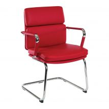 TEKNIK Deco 1101RD Faux Leather Visitor Chair - Red & Bright Chrome, Red