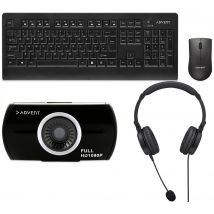 ADVENT Home Office Meetings Bundle - Webcam, Headset & Keyboard & Mouse