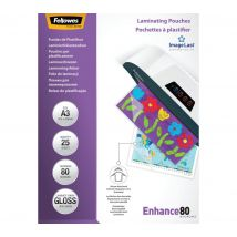 FELLOWES Enhance 80 Micron A3 Laminating Pouches - 25 Pack