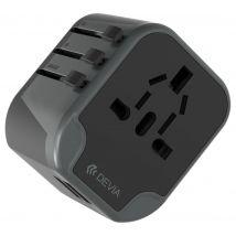 DEVIA Travel USB Universal Plug Charger - Black, Black