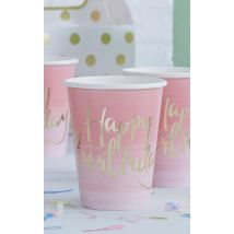 8 Pack Pink Ombre Happy Birthday Paper Cup, Pink