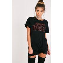 Robe t-shirt noire à imprimé Stay Weird, Noir