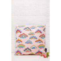 Pink Rainbow Clouds Cushion, Pink