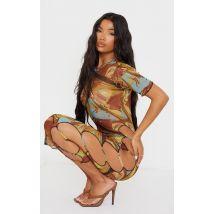Robe longue imprimé multicolore en mesh à découpes sur les côtés et manches courtes détail coutures, Multicolore