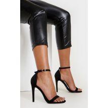 Sandales à talons & bride noires en suédine, Noir