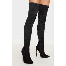 Emmi bottes cuissardes noires imitation daim à talons extrêmes, Noir