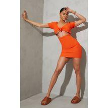 Robe moulante orange froncée à découpes et noeud, Orange