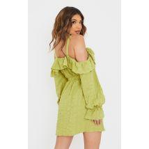 Robe droite vert citron texturée à épaules dénudées détail nouée, Vert citron