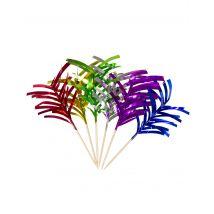 10 Pics Apéritifs Palmiers Métalliques 10 Cm - Coloré - Taille: Taille Unique
