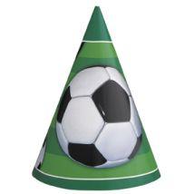 Fussball-Partyhüte 8 Stück grün-schwarz-weiss