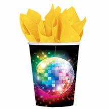 70er Disco Pappbecher Discokugel Party-Deko 8 Stück bunt 266ml - Thema: Mottoparty - Bunt