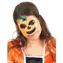 Pailletten-Kürbismaske für Kinder - Thema: Halloween - Orange