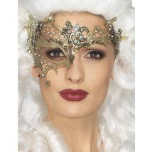 Metallische Damenaugenmaske - Thema: Fasching und Karneval - Gelb/Blond