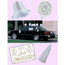 Just Married Autodeko Set Hochzeit 18-teilig weiss-gold