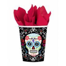 Sugar-Skull-Becher Tag der Toten Becher 10 Stück schwarz-bunt 266ml - Thema: Halloween