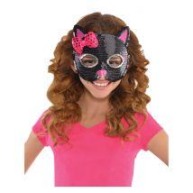 Katzen-Kindermaske mit Pailletten schwarz-pink - Thema: Fasching und Karneval - Schwarz