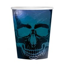 Skelett-Trinkbecher Boneshine Fever Halloween-Partydeko 16 Stück schwarz-blau 250 ml - Thema: Halloween - Blau