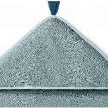 La Redoute Interieurs Mantella Da Bagno Bébé Con Pompon Cotone Bio Blu Taglie 100 x 100 cm