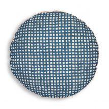 La Redoute Interieurs Cuscino Rotondo Cotone/lino, Lalo Blu Taglie diametro 35 cm