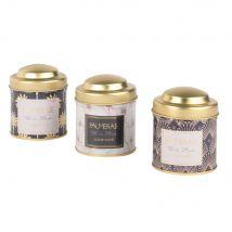 3 boîtes à thé en métal doré à motifs - Multicolore - 0x0x0cm - Maisons du Monde