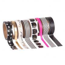8 masking tape à motifs - Noir - 4.5x7.8x4.5cm - Maisons du Monde