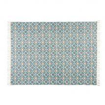 Baumwollteppich mit blauem Zementfliesen-Muster 160x230cm BLOCALIA - 160x230x0cm - Maisons du Monde