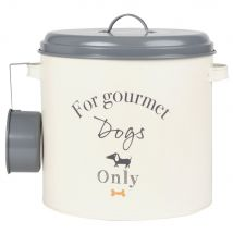 Beige and Grey Metal Dry Dog Food Storage Container with Scoop - 24.7x26.5x0cm - Maisons du Monde