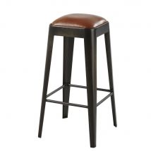 Black Metal and Brown Leather Bar Stool Manufacture - 38x73x38cm - Maisons du Monde
