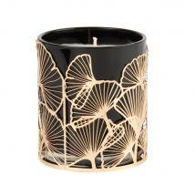 Bougie parfumée en verre gris motifs ginkgo en métal doré - Noir - 8x9x0cm - Maisons du Monde