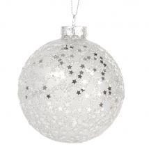 Boule de Noël en verre à paillettes argentées - 8x8x8cm - Maisons du Monde
