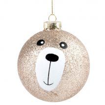 Boule de Noël en verre ours à paillettes dorées - 8x8x8cm - Maisons du Monde