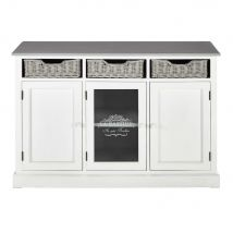 Buffet en paulownia blanc Garrigue - 130x86x40cm - Maisons du Monde