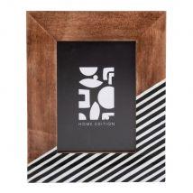 Cadre photo en manguier motifs graphiques 13x18 - Noir - 20.8x25.8x1.7cm - Maisons du Monde