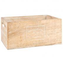 Caisse en manguier beige lettrage blanc - 24x11x16cm - Maisons du Monde