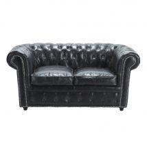 Canapé capitonné 2 places en cuir noir Chesterfield - 163x76x89cm - Maisons du Monde
