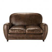 Canapé vintage 2 places en cuir marron Oxford - Marron - 142x83x94cm - Maisons du Monde