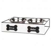 Ciotole per cane in acciaio inox (x2) con supporto in legno di pino bianco e metallo nero - 40.5x9x25.3cm - Maisons du Monde