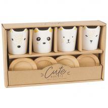 Coffret 4 tasses et soucoupes animaux en porcelaine - Jaune - 27.2x16x6.4cm - Maisons du Monde
