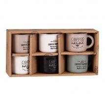 Coffret 6 tasses à café en faïence imprimée - Multicolore - 6x5.5x0cm - Maisons du Monde