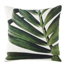 Cojín de algodón color crudo con estampado de hoja verde 45x45 - Blanco - 45x45x10cm - Maisons du Monde