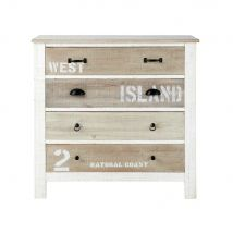 Commode en bois blanche L 90 cm Noirmoutier - 90x86x45cm - Maisons du Monde