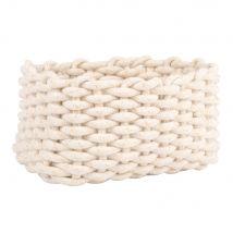 Corbeille rectangulaire en coton tressé blanc et lurex - 28x15x18cm - Maisons du Monde