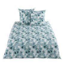 Cotton Bedding Set with Tropical Foliage Print 220x240 (240x220x0.5cm) - Maisons du Monde