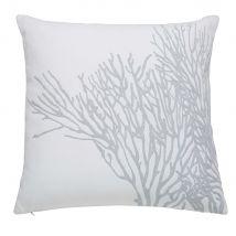 Coussin en coton gris et blanc 45x45cm - Blanc - 45x45x10cm - Maisons du Monde
